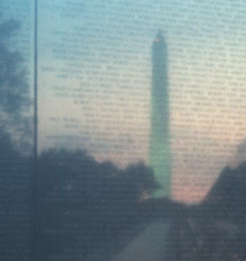 Washington Monument reflected off of the Vietnam Veterans Memorial